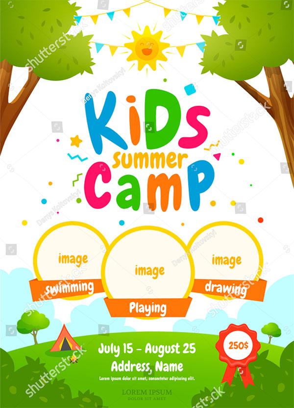 Kids Summer Camp Vector Brochure Template