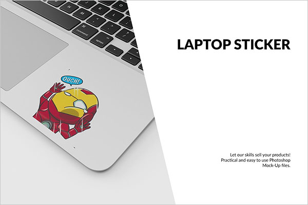 Laptop Sticker Mockup Design