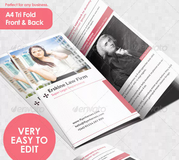 Law Firm Tri Fold Leaflet Brochure Template