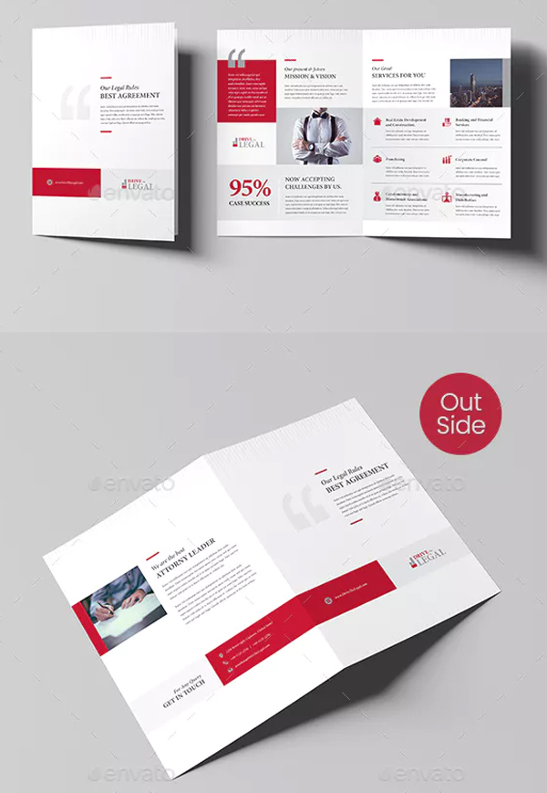 Legal Corporate Law Firm Business Bi-Fold Brochure
