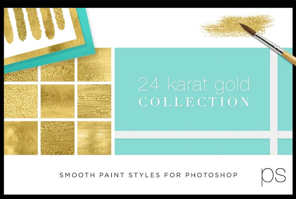 Liquid Gold Paint Textures and Styles Photoshop Templates