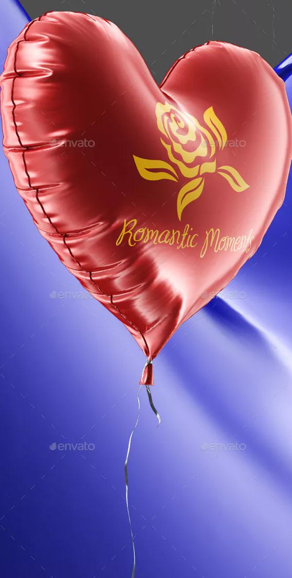 Love Heart Shaped Balloon Mock-up