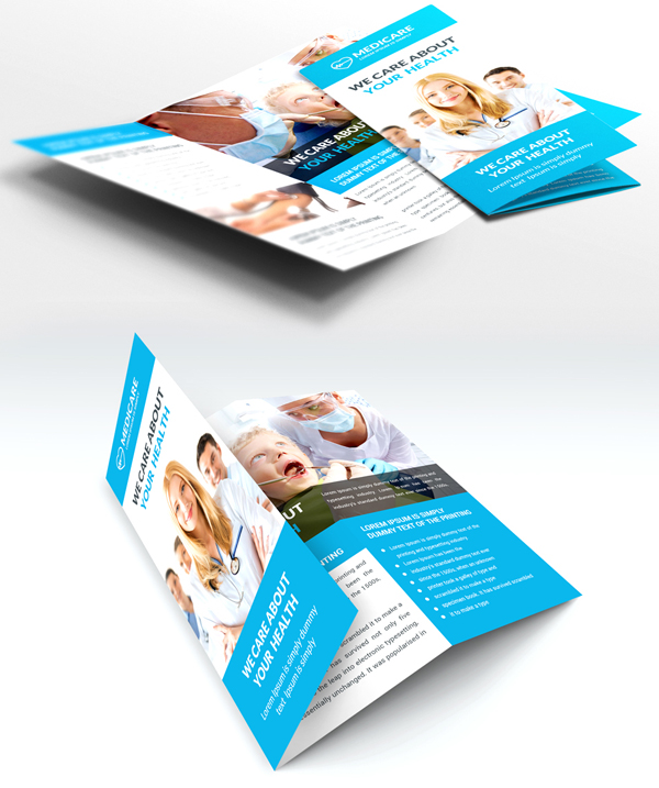Medical and Hospital Trifold Brochure Free PSD