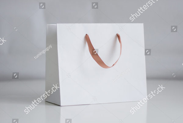 Mock-up of White Shopping Bag