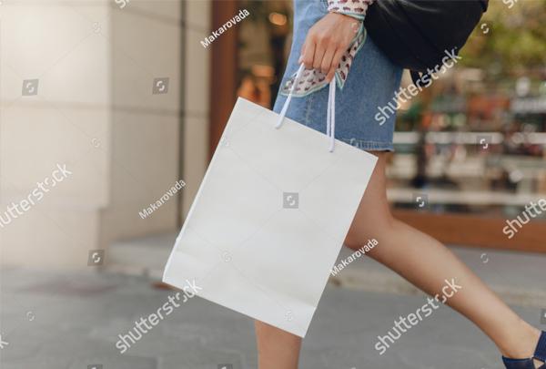 Mockup of white Paper Shopping Bag