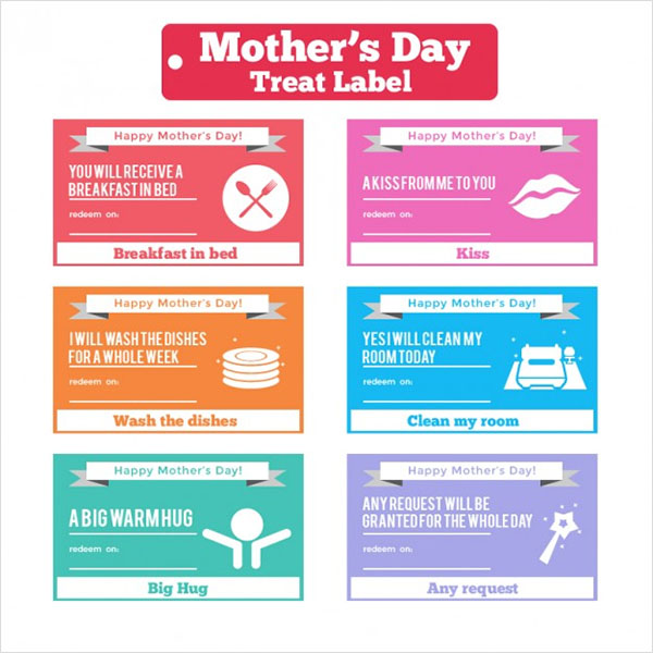 Mothers Day Funny Treat Labels f Free Vector