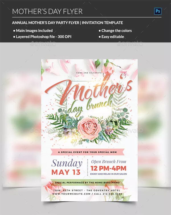 Mothers Day Love Party Flyer