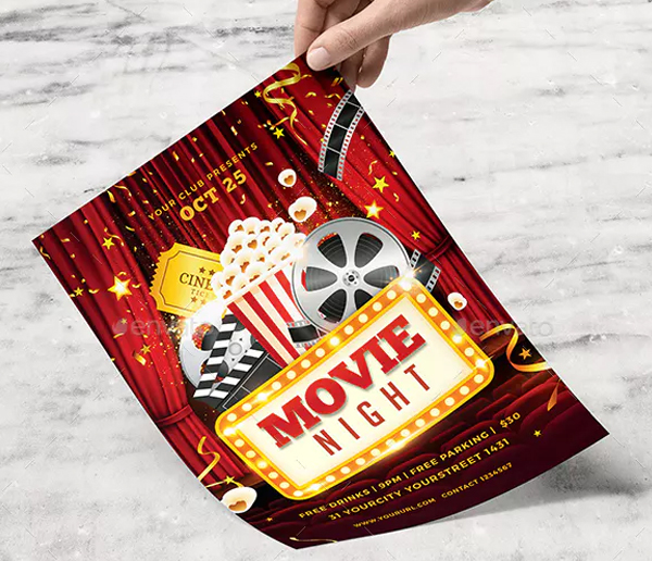 Movie Night Flyer Design Template