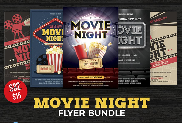 Movie Night Flyer Templates Bundle