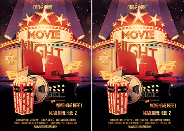 Movie Night Flyer and Ticket