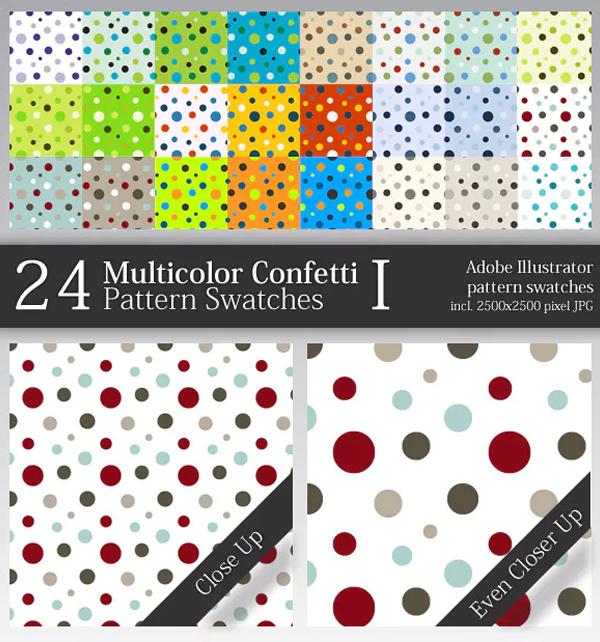 Multicolor Confetti Pattern Swatches for Illustrator