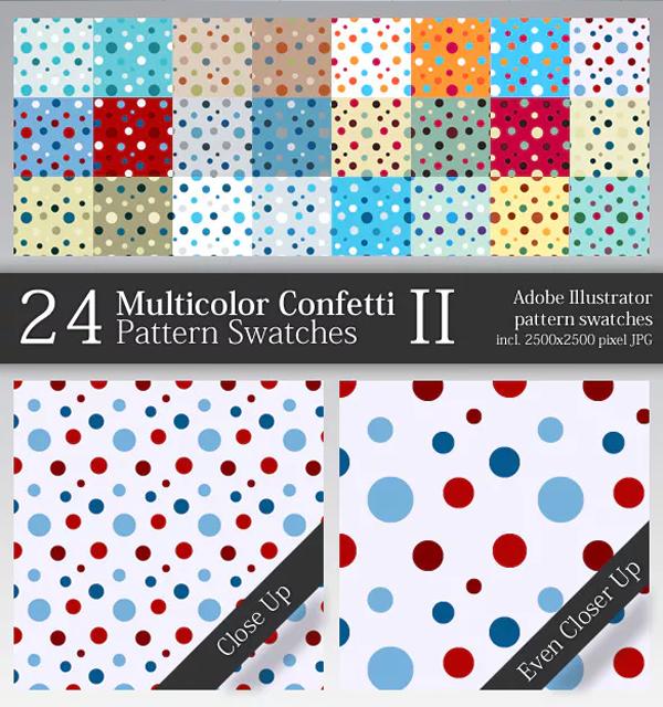 Multicolor Confetti Pattern Swatches