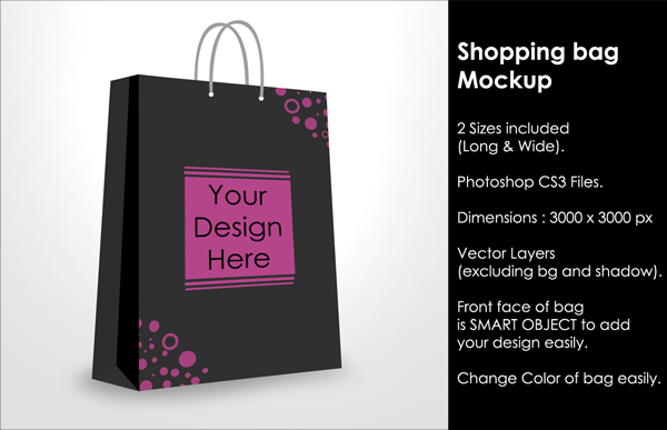 Paper Shopping Bag Mockup Photoshop Template