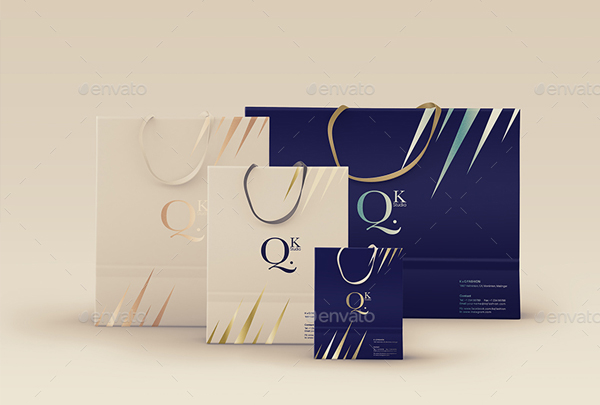 Paper Shopping Bag with Rope Handles Mockups