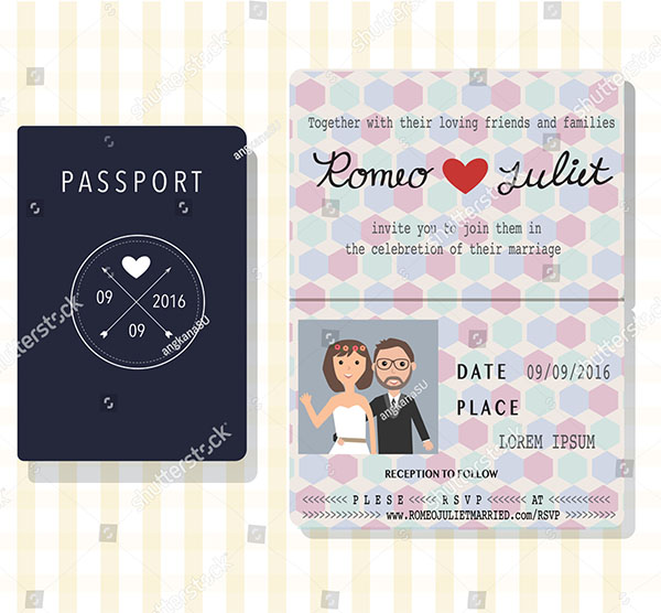 Passport Design Wedding Invitation Card