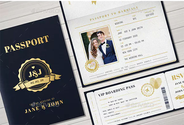 Passport PSD Wedding Invitation