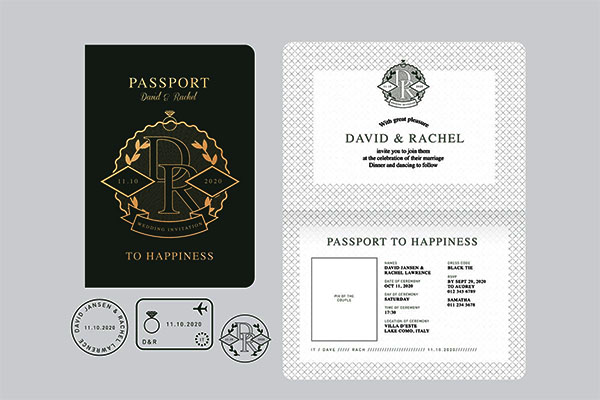 Passport Wedding Invitation Vector Design