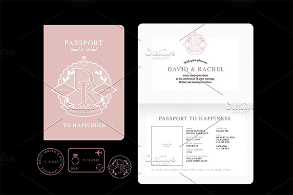 Passport Wedding Invitation Vector