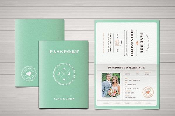 Pastel Passport PSD Wedding Invitation