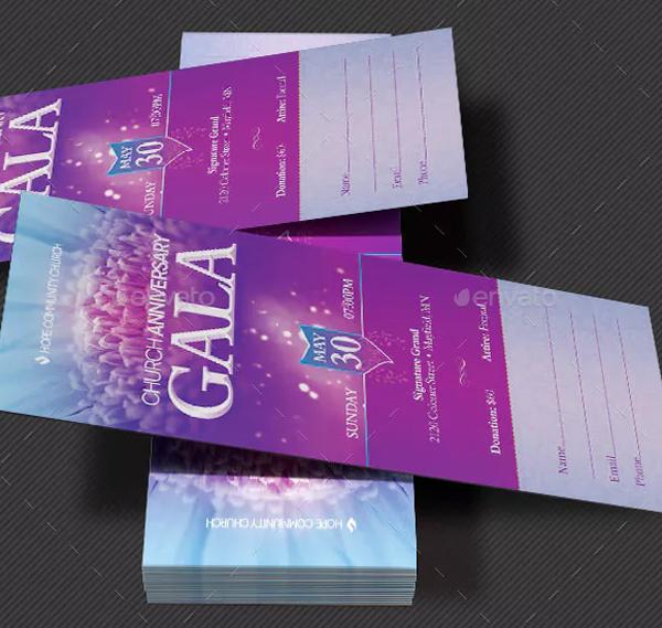 Pastor's Appreciation Gala Church Flyer and Ticket