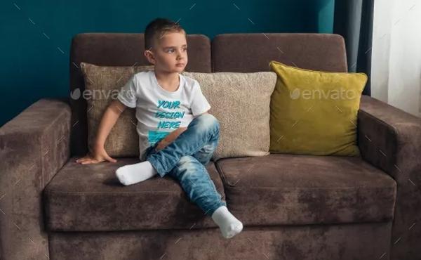 Photorealistic Kids T-Shirt PSD Mockup