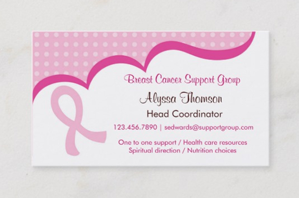 Pink Ribbon Breast Cancer Business Card Template