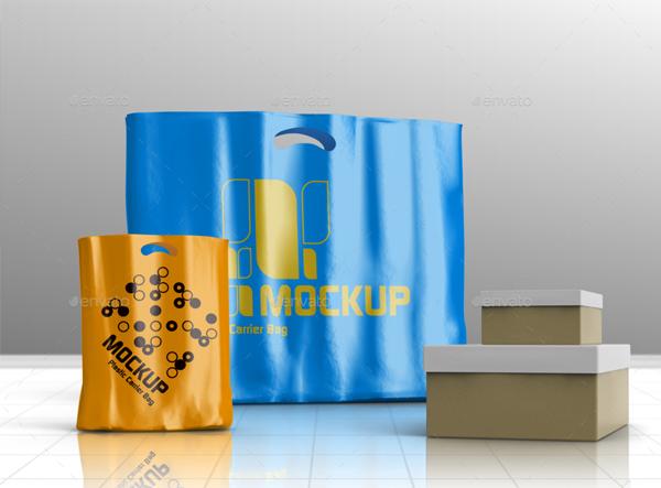 Plastic Carrier Shopping Bag Mockups
