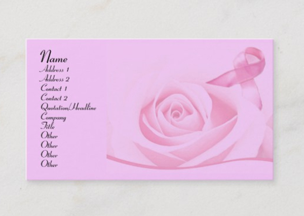 Printable Breast Cancer Awareness Business Card