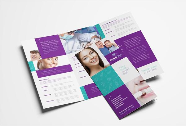 Printable Dental Clinic Trifold Brochure Template