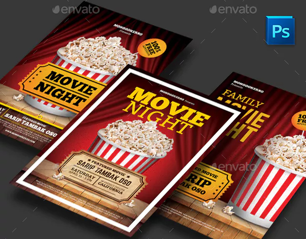 Printable Family Movie Night Flyer PSD Design