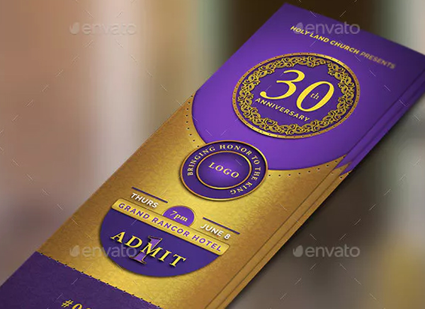 Printable Gold and Violet Church Anniversary Ticket Template