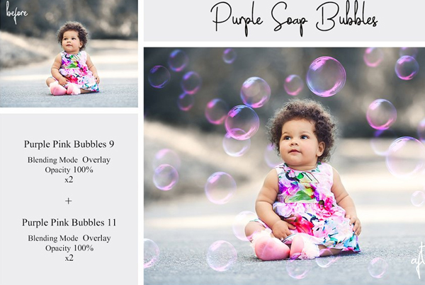 Purple Soap Bubbles PSD Overlays