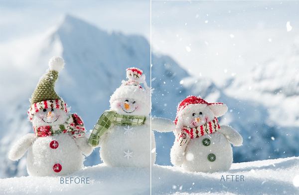 Real Snow Color Photo Photoshop Action