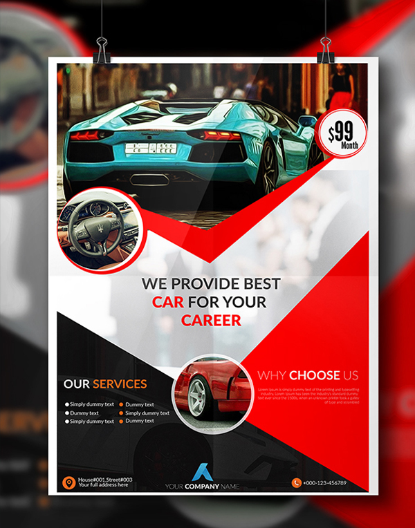 Rent A Car Flyer Free Template