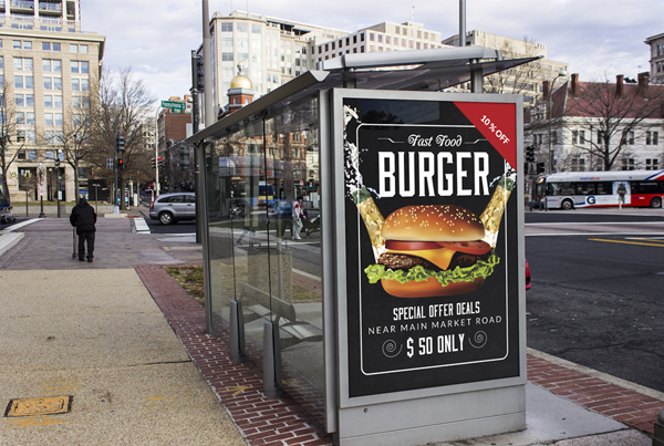 Restaurant Fast Food Bus Stop Banner