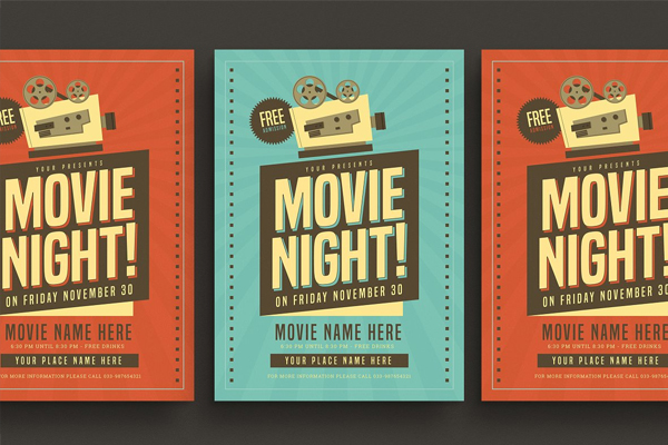 Retro Movie Night Flyer Design