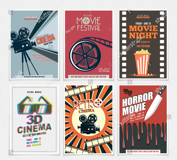 Retro Movie Posters and Flyers Set
