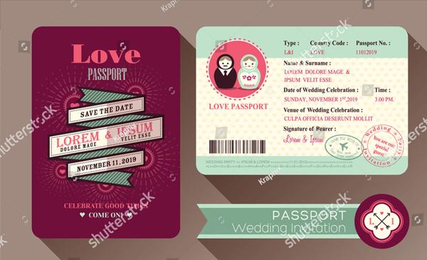 Retro Visa Passport Wedding Invitation Card Design