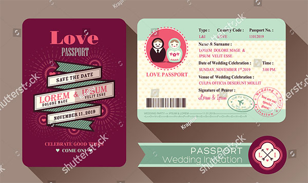 Retro Visa Passport Wedding Invitation Design