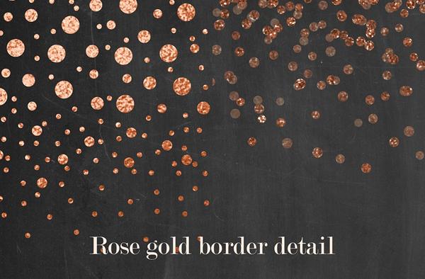 Rose Gold Confetti Borders