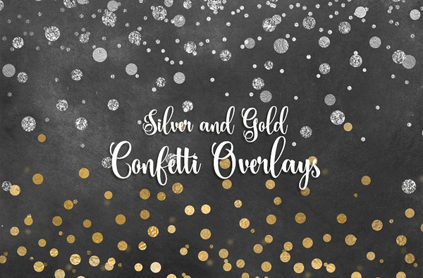 Silver and Gold Confetti Textures