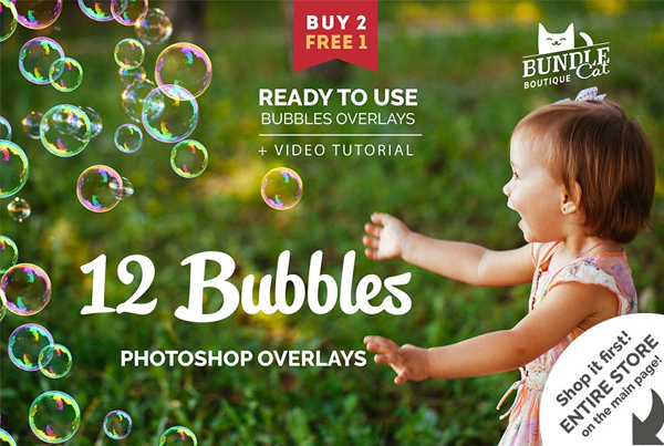 Soap Bubbles Photo Photoshop Overlays