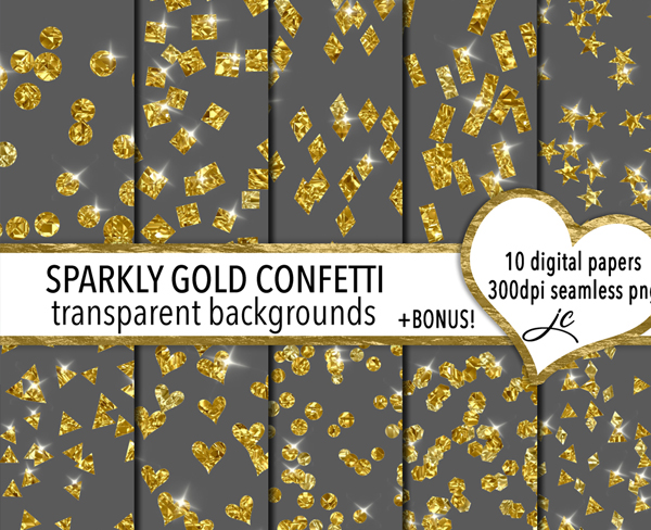 Sparkly Gold Confetti Textures with Transparent Backgrounds