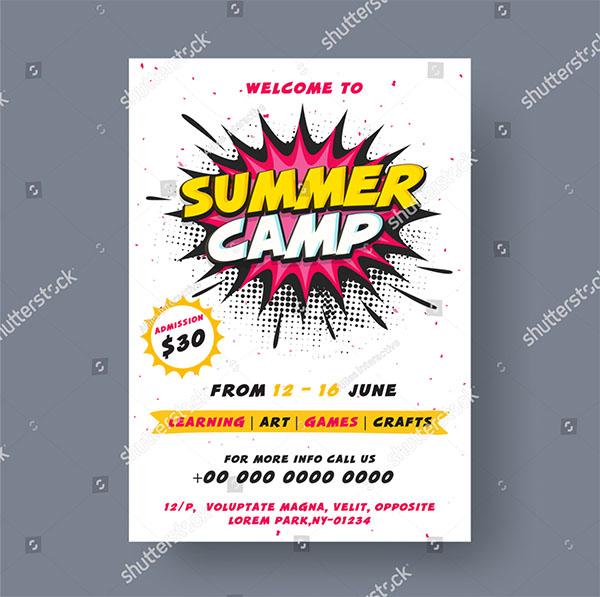 Summer Camp Poster Vector Brochure