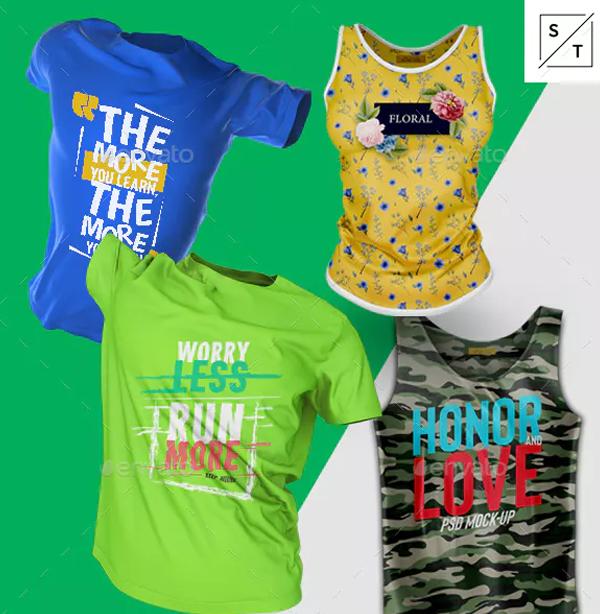 T-Shirt and Tank Top PSD Mockup Set