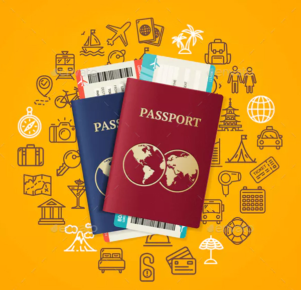 Travel and Tourism Concept Card with Passport