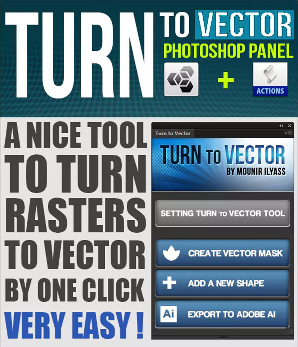Turn To Vector Photoshop Panel Actions