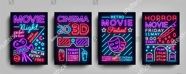 Vector Illustrations Movie Flyers Bundle