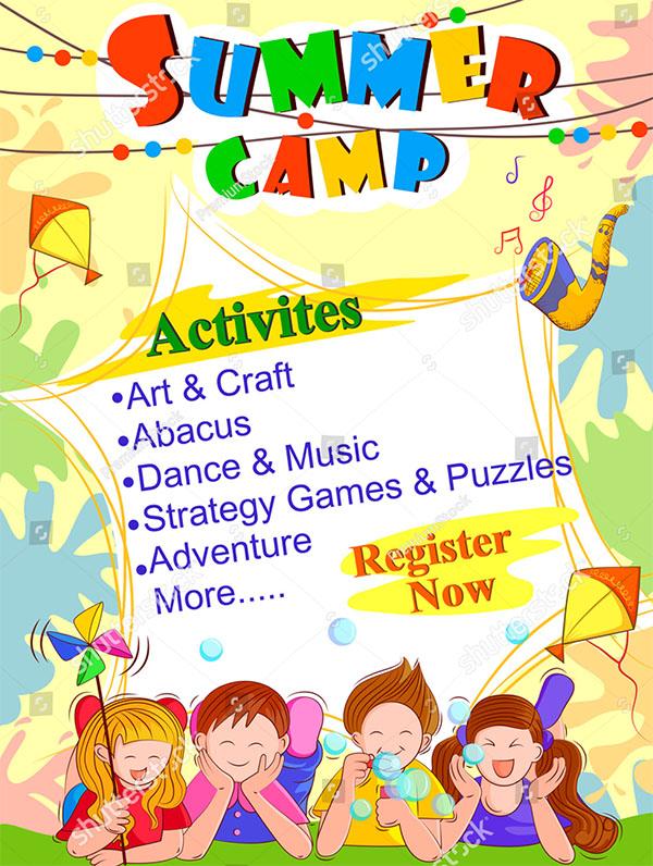 Vector Kids Summer Camp Activities Template