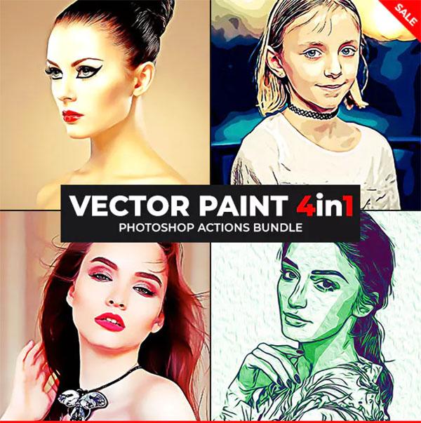 Vector Paint Photoshop Actions Bundle